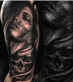 Image may contain: 1 person Skull Girl Tattoo, Girl Face Tattoo, Face Tattoos, Skull Tattoos, Tattoo Girls, Forearm Tattoos, Body Art Tattoos, Tattoos For Guys, Chicano Tattoos Sleeve