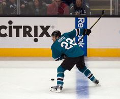 San Jose Sharks defenseman Dan Boyle winds up for a huge slap shot during the first period (Oct. 8, 2013).