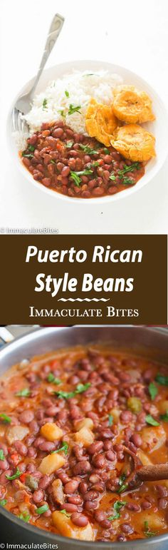 Puerto Rican Style beans Puerto Rican Style beans – A hearty red beans simmered in an aromatic sauce with big bold flavors. Quick Easy and Simply Delicious. If you like a an easy yet tasty meat free beans then, you might think this Puerto Rican Beans is Mexican Food Recipes, Vegetarian Recipes, Dinner Recipes, Cooking Recipes, Healthy Recipes, Ethnic Recipes, Steak Recipes, Chili Recipes, Easy Recipes