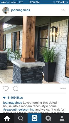 Fixer upper front porch remodel. Modern mixed with rustic country.