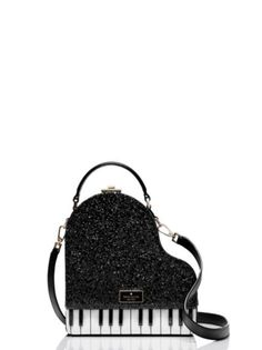 keyed up: this unique, glitter-dusted leather bag is shaped like a grand piano, for a look that's a little bit cheeky and very cool. Unique Handbags, Unique Purses, Unique Bags, Cute Purses, Purses And Handbags, Luxury Handbags, Cheap Handbags, Cheap Bags, Luxury Bags