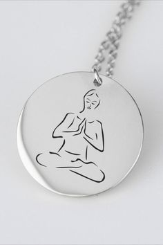 Meditation may significantly reduce stress, anxiety, depression, and pain, and enhance peace, perception, self-concept, and well-being. Meditation is under research to substantiate its health (psychological, neurological, and cardiovascular) benefits and other effects. You can wear this yoga pendant necklace as a personal talisman or you can gift it to a loved one. This silver yoga charm makes a heartwarming gift for her & gift for him. You can gift it as a Christmas gift or as a wedding… Fashion Group, Style Fashion, Fashion Jewelry, Etsy Jewelry, Handmade Jewelry, Unique Jewelry, Handmade Gifts, Gifts For Wife, Gifts For Her