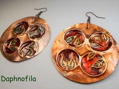 Green leaves on copper Handmade earrings Copper jewelry