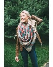 Oversize Plaid Blanket Scarf - Cream/Red/Green