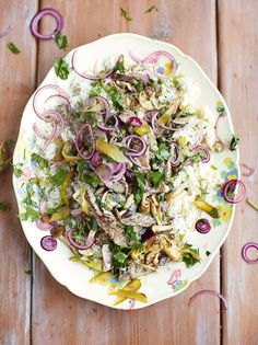 "Beef stroganoff, fluffy rice, red onion & parsley pickle ""This quick beef stroganoff recipe is creamy, light and cooks in the time it takes to do the rice """