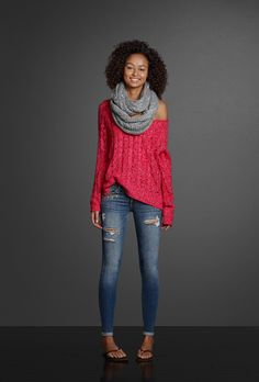 Shine bright and pair a colorful sweater worn off-the-shoulder with a beautiful shimmering scarf. Wear a pair of destroyed jeggings with sparkling embellishments and spray on some Perfume No. 1 to complete your look.