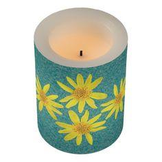 Botanical Yellow Arnica Wildflowers Led Candle