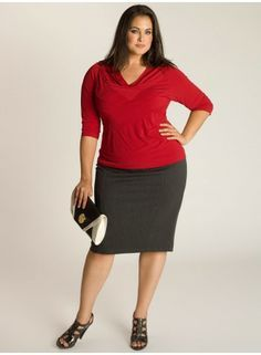 Curvy Woman Gray Skirt Red Top and Black Sandals
