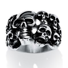 A men's ring with fierce attitude. Features a large skull, surrounded by an army of smaller skulls.
