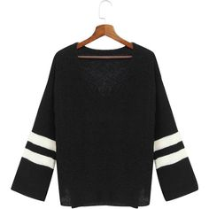 Yoins Black Flared Sleeves Causal Shirt ($25) ❤ liked on Polyvore featuring tops, black, shirt tops, bell sleeve shirt, cut loose shirt, loose shirts and bell sleeve tops