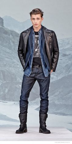 He's Boss! Denim & Leather Mens Designer Fashion Trends  Hugo Boss Fall/Winter 2014