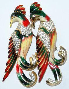 Coro Craft Sterling Rhinestone Enamel Birds Duette Pin 1940's