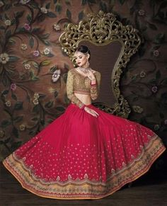 Red Silk and Crepe A Line Lehenga Wedding Dresses ,Indian Dresses - 2                                                                                                                                                                                 More