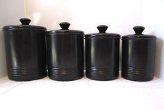 Classic Black Canister Set Traditional OGGI Metal Storage Tins Modern Cookie Jar #Oggi