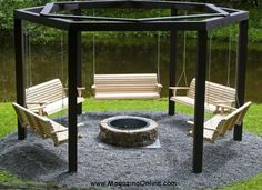 Fire Pit Swing Set for that future awesome backyard. Sets fire pit Make Your Own Beautiful Fire Pit Swing Set Fire Pit Swings, Diy Fire Pit, Porch Swings, Backyard Swings, Outdoor Swings, Big Backyard, Backyard Barbeque, Outdoor Oven, Backyard Camping