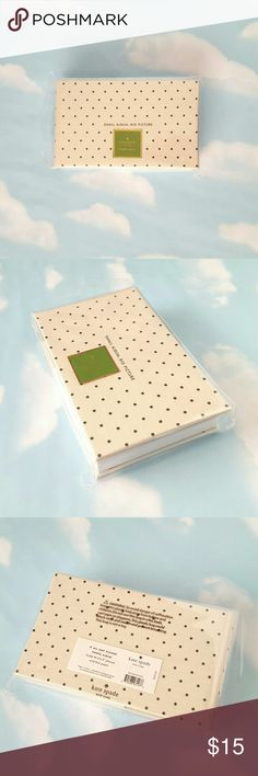 """Kate Spade photo album Cute photo album from Kate Spade with a linen cover with polka dots. Holds 80 4x6"""" photos. Note: green KS logo on front is a sticker on the protective sleeve, not part of the design. kate spade Other"""