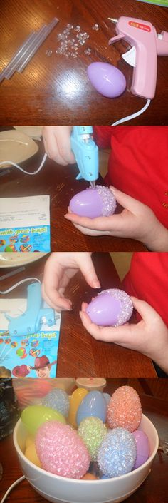 This is a fun easy project. Makes great Easter decorations. First you need plastic eggs, a hot glue gun, clear tri pony beads, and extra glue sticks. It's easiest to start at either the top or bottom not in the middle. Spread a thin layer of hot glue on your egg (the thinner the layer the more see threw the final product will be). Then, before the glue dries, put on your beads. Interlock them the best you can but if there are spaces that's ok too. Cover the whole egg then decorate!