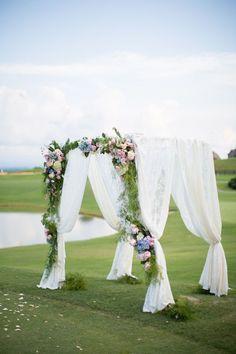 Golf Course Wedding - Looking for a unique wedding venue? Check out these 20 alternative wedding venues Wedding Ceremony Arch, Wedding Ceremony Decorations, Wedding Venues, Wedding Gazebo, Wedding Ceremonies, Wedding Ideas, Wedding Planning, Wedding Canopy, Wedding Mandap