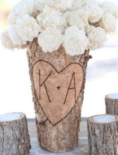 Wedding decor on a budget,  personalized wood flower vase, country shabby shic decor, outdoor party table toppers