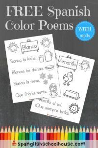 FREE Spanish Color Poems for Children These original Spanish Color Poems are too cute, and come with Fun illustrations, catchy rhymes, and poems for all 11 colors, including 4 alternate versions. Learning Spanish For Kids, Spanish Lessons For Kids, Spanish Teaching Resources, Spanish Activities, Spanish Language Learning, Learn Spanish, French Lessons, Learn French, Spanish Games