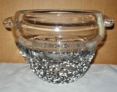 Unusual SIGNED Incredible GRANZIOLI Glass VASE or BOWL with HANDLES & DOTS 1993