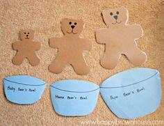 Goldilocks and the Three Bears size sort for preschoolers