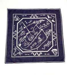 63244268a71 Kings Ranch Bandana Blue Kingsville Texas Scarf Vintage Tourist Map Glentex  Cotton Western Horses Cattle San Antonio Race Track 1960s 1970s