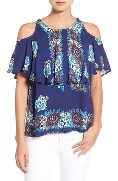 Ella Moss 'Rosamund' Floral Print Cold Shoulder Top