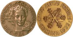 Medalla Olímpica de los Juegos Olímpicos Cortina d'Ampezzo 1956,Italia