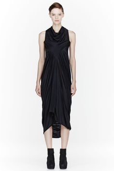 RICK OWENS LILIES Washed black draping Long Dress- IN STORE NOW