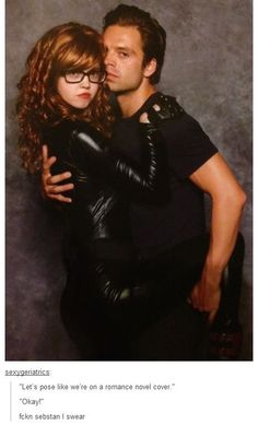 "What the hell - he's so cool! | Fan: ""Let's pose like we're on a romance novel cover."" SebStan: ""Okay!"" -- I'm DYING."