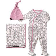 Babies can relax in style and comfort in the Snuggle Set by Petunia Pickle Bottom. Made with 100% organic combed cotton, the ultra-soft pieces form a delightful ensemble for snuggling, nuzzling and nestling. Printed with a pink and grey garden lattice design, the long sleeved, footed, kimono style romper and swaddling blanket both are trimmed in light pink. They're joined by a olid pink beanie hat to complete the set. #LGRoselynNursery