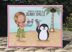 Polynesian Paradies and Penguins In Paradise stamp sets from MFT Stamps. Card by Mocha Frap Scrapper