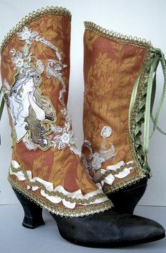 """Luxury Spats"" by Maide. Site: http://de.dawanda.com/shop/maide. Maide has been creating her unique spats and gaiters for nearly a decade. ""Nostalgia is one main theme of my work which I can not deny, obviously."" Inspired by Victorian and Edwardian textiles as well as the paintings of Mucha, Klimt, and Carl Larsson, her accessories integrate exquisite samples of early 20th century lace, trim, and appliqué. Each design is a meticulously handcrafted piece of wearable art. (View 1)"