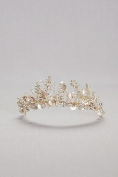 Let vintage-inspired metal flowers and crystals bloom in your wedding day \'do with this hand-wired tiara. Brass, crystal L, W Imported Cute Jewelry, Hair Jewelry, Wedding Jewelry, Jewelry Rings, Anklet Jewelry, Wedding Shoes, Bridal Accessories, Jewelry Accessories, Jewelry Design