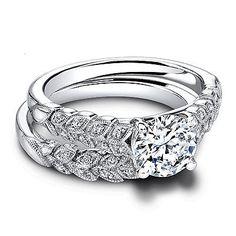 1.20 Ct Diamond Wedding Set Solid 14K Certified White Gold Wedding Ring Size 5 7