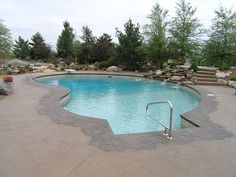 Vinyl #pool with #spa and #waterfall and total automation.