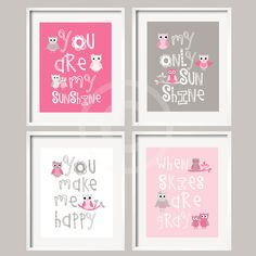 Kids Wall Art Pink and Gray Nursery Decor Prints - You Are My Sunshine - Owl Art -  8x10 - baby shower gift, for boy or girl. $59.95, via Etsy.