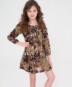 Look at this #zulilyfind! Brown Floral Pleated Dress - Toddler & Girls