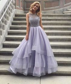 Elegant Handmade Beads Lilac Prom Dress