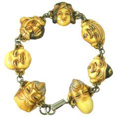 Rare Vintage Celluloid Toshikane Seven Lucky Gods Bracelet 1