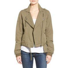 Paige Denim 'Marjorie' Twill Moto Jacket ($295) ❤ liked on Polyvore featuring outerwear, jackets, desert olive, long sleeve jacket, brown biker jacket, twill jacket, moto jacket and zip front jacket