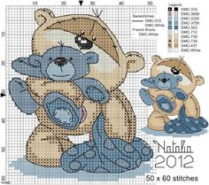 My Cross Stitch Gallery: G144 :: Fizzy Moon - Blue/ Pink Bear