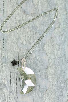 Large Crystal Half Moon Necklace Swarovski 30mm Moon by DevikaBox, $28.00 #moon #star #necklace #crystal #jewelry #Christmas #gift