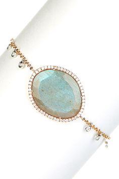 Beautiful Meira T 14K Rose Gold Labradorite & Diamond Bracelet