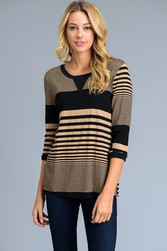 Beige and black multi-size stripe top. {$23 shipped, S-M-L} Purchase here: https://www.facebook.com/photo.php?fbid=10154863949618686&set=pcb.1318875174838422&type=3&theater
