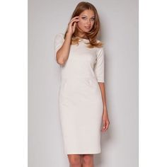 beige elegant klassisch gerade Kleid