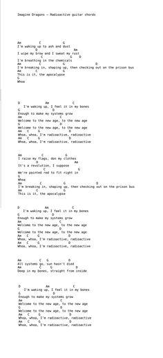Imagine Dragons Radioactive Piano Chords Gallery Chord Guitar