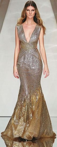 Abed Mahfouz - Couture - Spring-Summer gazzow (apologies for making up the word, but the dress called for a word I didn't have in my vocabulary). Abed Mahfouz, Style Haute Couture, Couture Fashion, Runway Fashion, Gold Evening Dresses, Evening Gowns, Prom Dresses, Beautiful Gowns, Beautiful Outfits