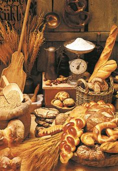 Brotstube, German Bread and Pretzels Poster Scary Cakes, Bread Display, Bakery Shop Design, Bread Recipes, Cooking Recipes, German Baking, Bread Art, Food Gallery, Bread And Pastries